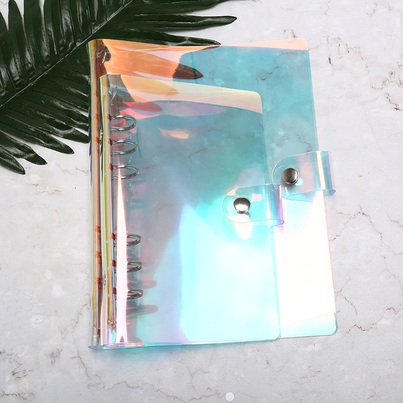 High Quality A5 Transparent Laser Binder PVC Multifunctional Hand Book Travel Rainbow Bright Hand Account Clip Shell