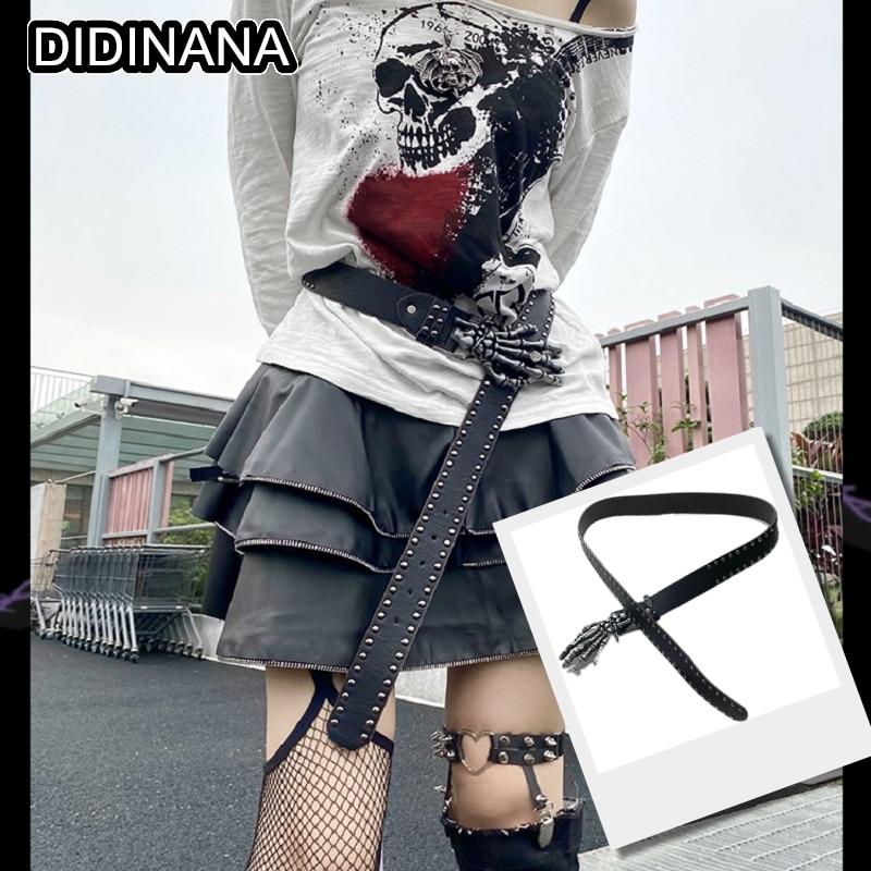 Harajuku Fashion women men belt skull buckle skull hand Heavy metal rock devil hand Gothic punk style belt Waistband