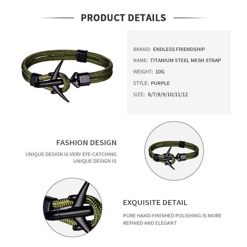Pulsera de ancla de cola negra de moda para hombres Cadena de cuerda de las mujeres pulsera de cuero de doble capa deportiva para hombres y mujeres joyería de fiesta