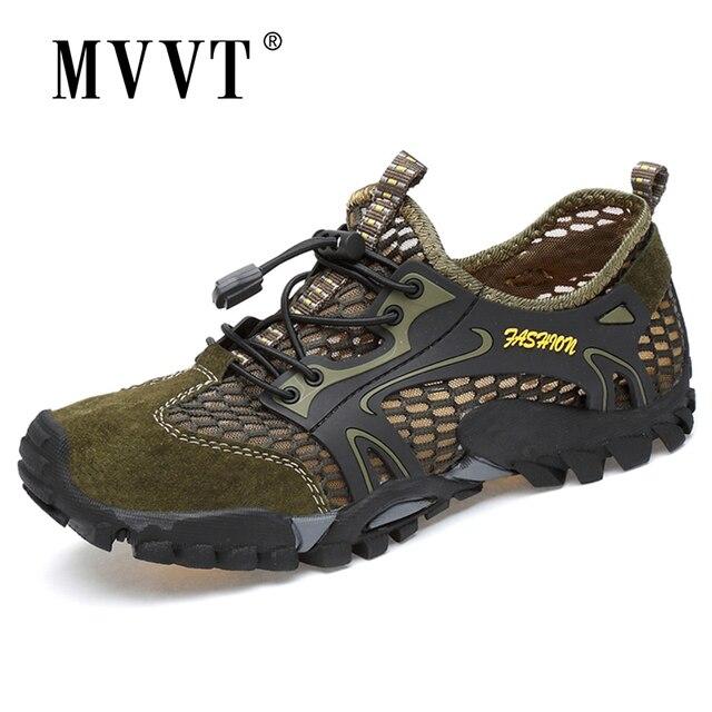 קיץ לנשימה גברים נעלי הליכה זמש + רשת חיצוני גברים ספורט טיפוס נעלי גברים נעלי ספורט מהיר יבש מים נעליים