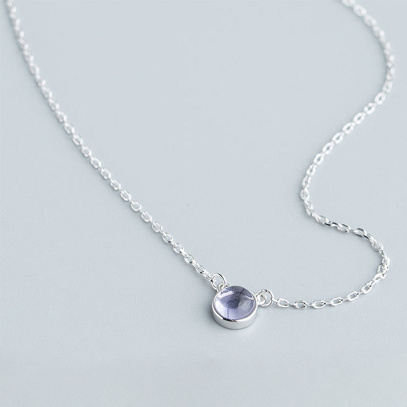 Kara&Kale Korean Cute Collares 925 Sterling Silver Necklace Small Blue Round Pendant Women Fashion Jewelry SYXL001