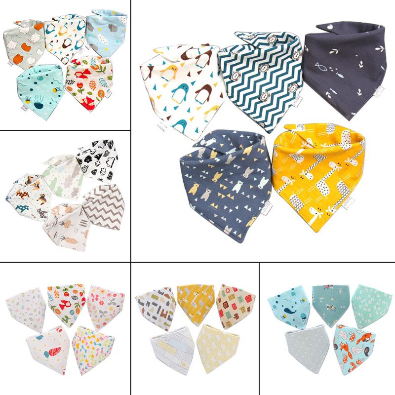 5 Pcs / Pack Baby Cotton Feeding Bibs Cartoon Print Bandana Saliva Triangle Dribble Towel Apron
