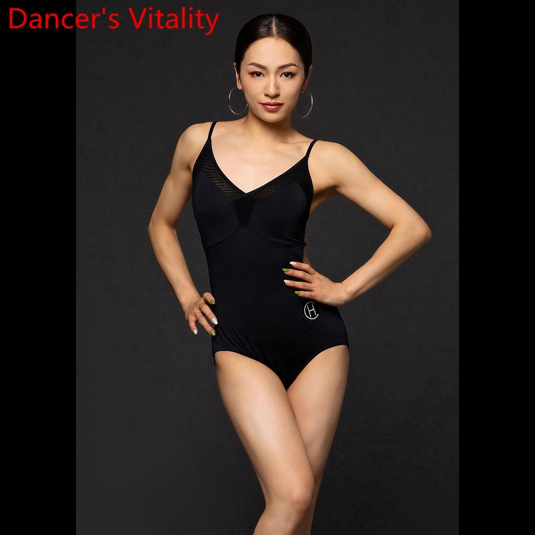 Latin Dance Performance Clothes Women Adults Backless Body Suit With Chest Paddings Rumba Samba Tango Cha Cha Dancing Train Top