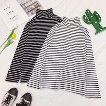 Mooirue Plus Size Thin Sheath T-shirt Women Turtleneck Casual Striped Harajuku Streetwear Long Sleeve Vintage Tee Tops