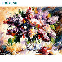 SDOYUNO DIY Oil Painting By Numbers 60x75cm Paint By Numbers Flowers Home Decor Frameless Digital Painting On Canvas