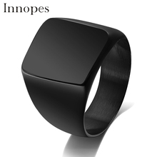 Innopes  Men's Black Rock Punk big Rings 316L Stainless Steel  Cool Fashion Individuality Signet Ring for Men Party Jewelry fate love brand 316l stainless steel punk male men large big black red stone rings fashion jewelry size 7 8 9 10 11 gj623