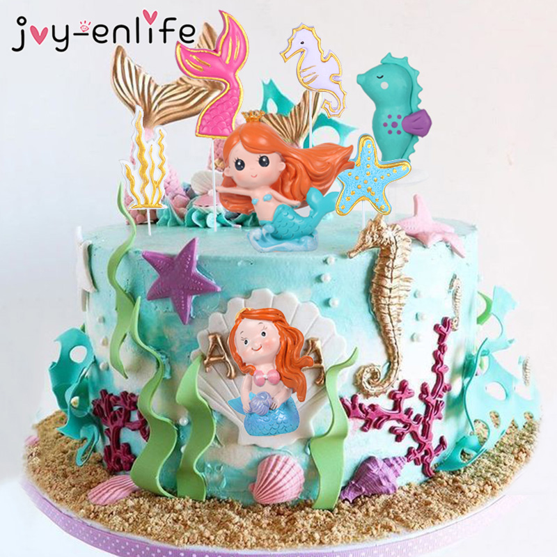 Crown Mermaid Cake Topper Fishtail Shell Cake Flags Kids Favors Cake Decoration Children's Day Party Birthday Dessert Decoration