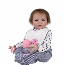 20'' K_ 50cm Reborn Baby Girl Silicone with cotton DOLLMAI 2019 new simulation bebe girl reborn Dolls With Curved Hair Kids gift dollmai 22 full body silicone reborn dolls bebe boy girl reborn bonecas can enter water blond hair wig kids gift dolls