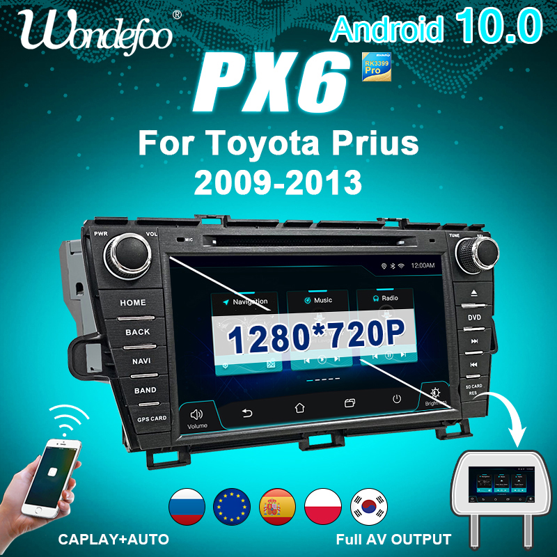 магнитола 2 din андроид Автомобильный Радио 2 DIN Android 10 Автомагнитола PX6 для Toyota Prius 2009 2010-2013 2DIN автомобильный стерео Авто Аудио навигация Мульти...