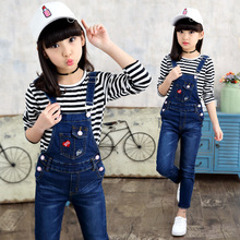 2019 Spring Fashion Girls Denim Overalls Autumn Jeans For Girls Clothing Pants Casual Children Wear Rompers Students Jumpsuits цена 2017