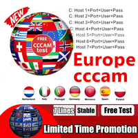 Europe Receptor Cccams lines for 1 year Europe used for DVB-S2 Ccams satellite receiver europe channels 6 lines