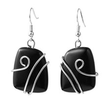 FYJS Unique Silver Plated Jewelry Wire Wrap Irregular Shape Trapezoid Black Agates Drop Earrings