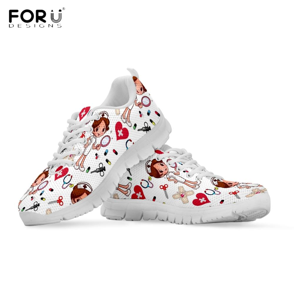 FORUDESIGNS Flats-Shoes Sneakers Nurse Medical-Doctor-Pattern Spring Autumn Casual Fashion