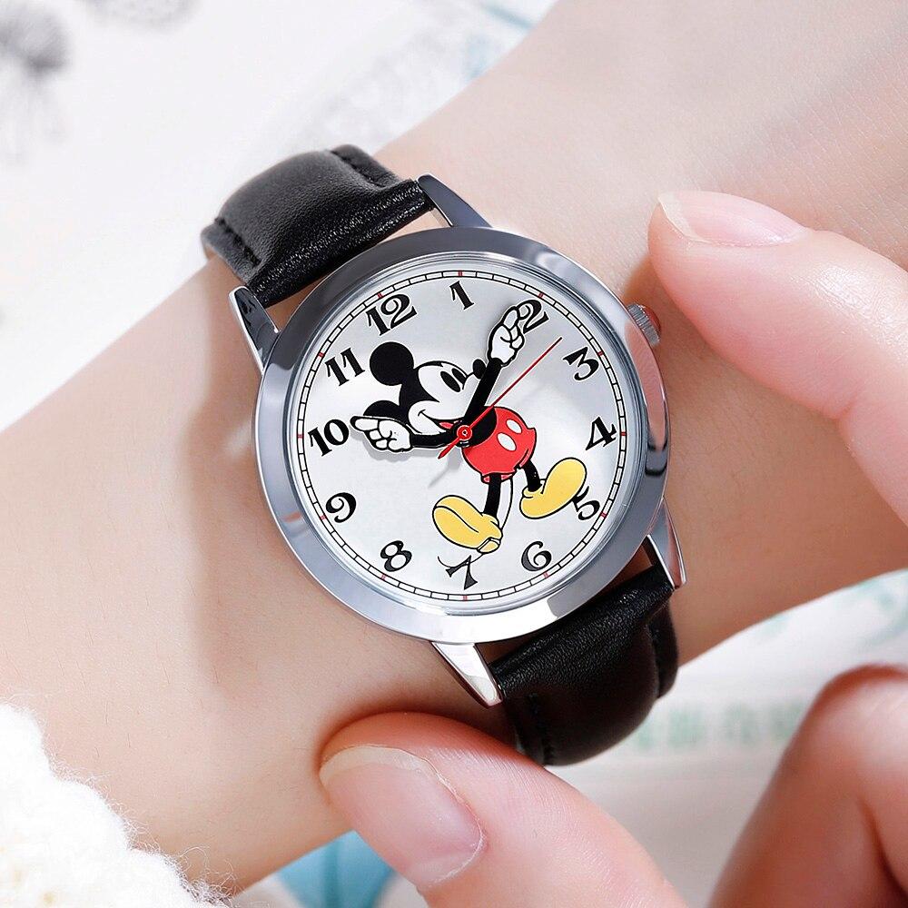 Disney Official Leather Kids Quartz Children Fashion Watches Mickey Mouse Cartoon Student Watch Boy Girl Best Gift Clock Relogio