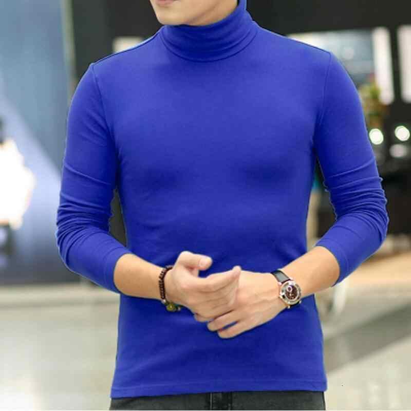 T 셔츠 남성 긴 소매 t 셔츠 겨울 tshirt 남자 열 t 셔츠 터틀넥 남성 의류 탑 캐주얼 겨울 봄 t-셔츠