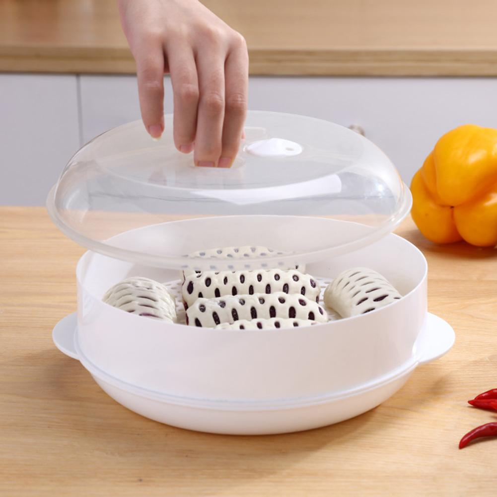 1pc Round Single/Double Tier Microwave Food Steamer BPA Free Cookware Steam Cooking Veggies Fish Seafood Kitchen Cookware