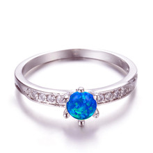 boho female blue opal stone ring dainty round crystal silver wedding rings for women cute bridal love heart engagement ring Classic Female Blue Opal Stone Ring Dainty Round Crystal Wedding Rings For Women Trendy Bridal Silver Engagement Ring