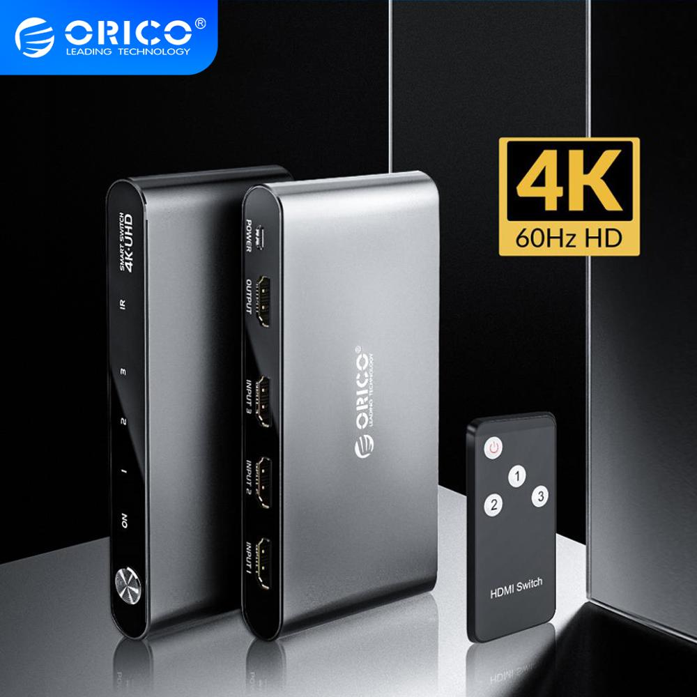 ORICO HDMI 2.0 Splitter Switch 3 Port 4K 60Hz 1080P Aluminum Switcher 3 In 1 Out With IR Remote Control For DVD TV Xbox PS3/4