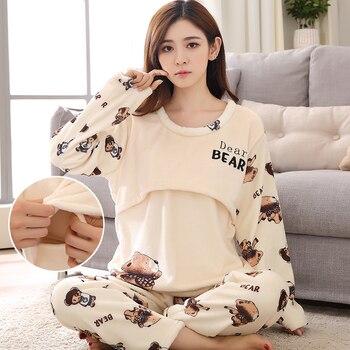 2019 New Women Pajamas Set Winter Maternity Pijamas Suit Flannel Breastfeeding Pajamas Coral Fleece Pregnant Sleepwear M-3XL