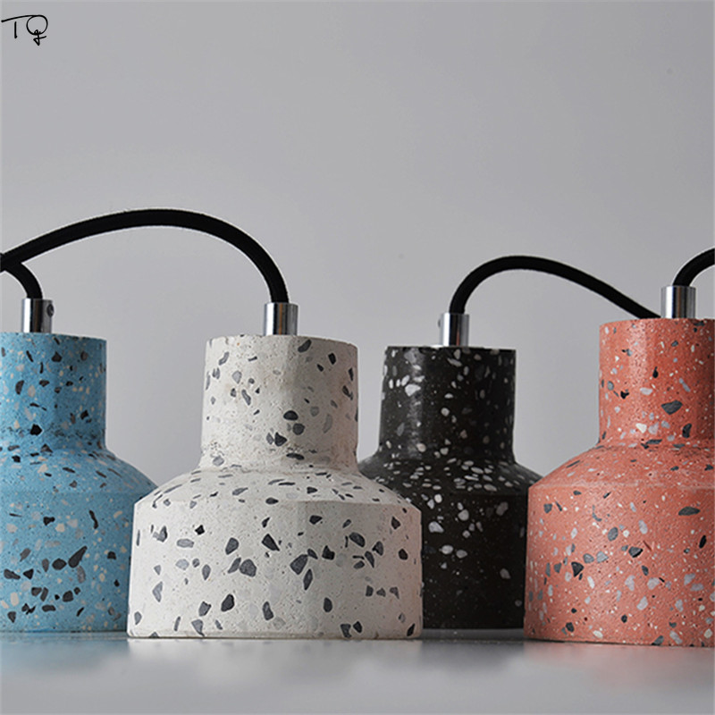 Terrazzo Cement Concrete Pendant Lights Nordic Modern Led E27 Restaurant Bar Living Room Bedroom Kitchen Industrial Lamp Design