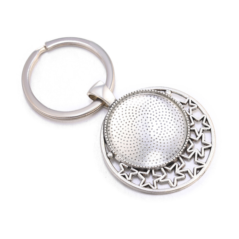 10pcs/lot 25mm Cabochon Blank Keychain Pendant Base Fit 25mm Glass For Key Chain Keyring Pendant DIY Jewelry Making Findings