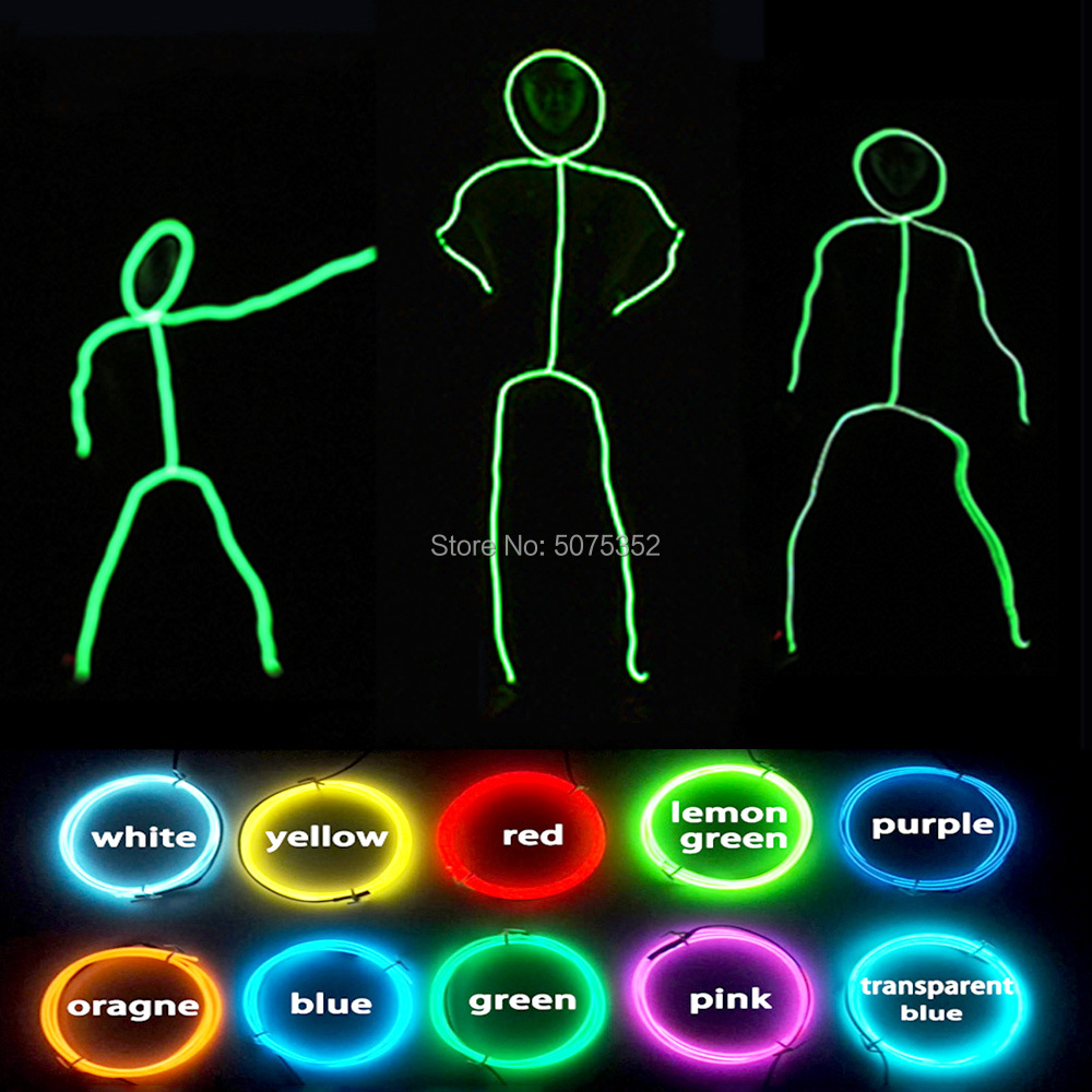 GZYUCHAO EL Cosplay Led Costume Dance Wear Matchstick Men Costume EL Wire Costume DIY Material For Stage Performance