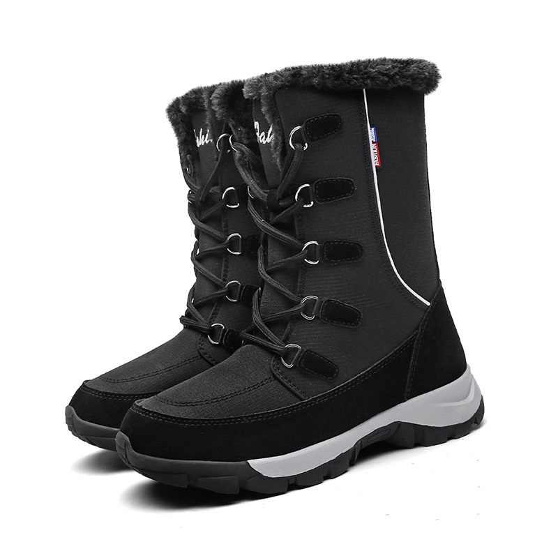 DAHOOD Winter Warme Schoenen 2019 Hot Pluche Mid Calf Waterdicht Dames Laarzen Lace Up Antislip Vrouwelijke Snowboots dropshipping