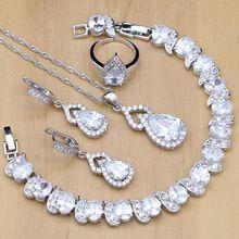 925 Conjuntos de Jóias de prata Zircão Branco Decorações de Casamento Para As Mulheres Brincos de Pingente de Colar de Contas de Cristal Anéis Abertos Pulseira