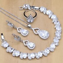 Silver 925 Jewelry Sets White Zircon Crystal Beads Wedding Decorations For Women Earrings Pendant Necklace Open Rings Bracelet