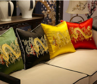 Fine Embroidery Ethnic Dragon Fabric Cover Cushion Pillow Case Chinese Xmas Luxury Sofa Chair Back Cushion Cover Pillow Covers