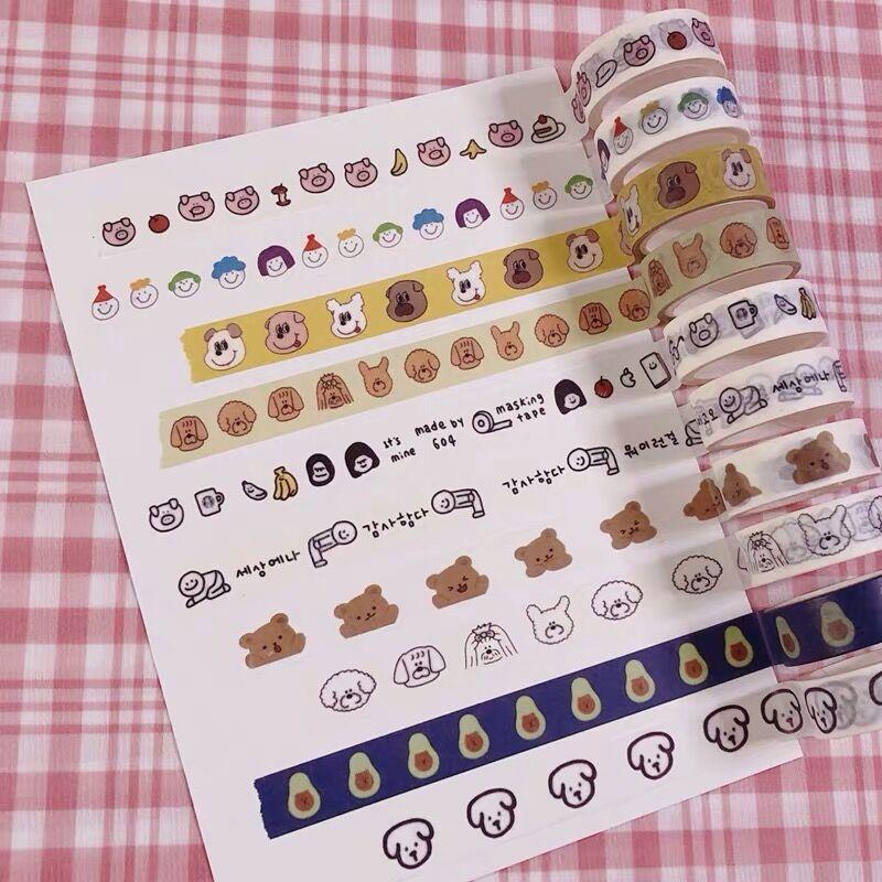 2020 Sharkbang 4.5M Kawaii Bear Dog Scrapbooking Washi Masking Adhesive Tape Dercorative Paper Tape Stationery