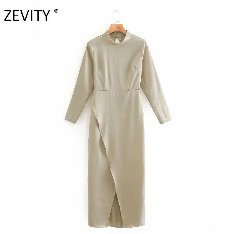 Zevity women elegant press stand collar solid hem split midi dress female sexy back hole vestido chic casual slim dresses DS4217