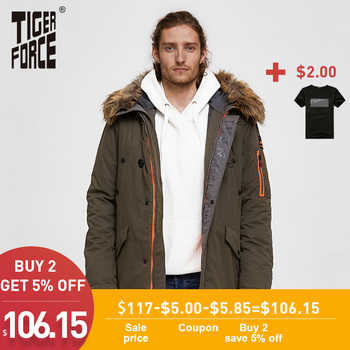 TIGER FORCE 2019 Men Parka Padded Coat Men\'s Winter Jacket Mens Thick Parkas Waterproof Artificial Fur Outerwear Winter Jacket - DISCOUNT ITEM  48% OFF Men\'s Clothing