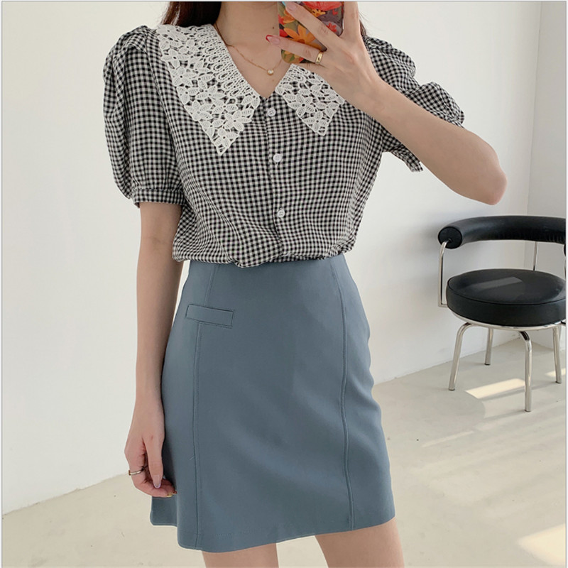 Women  Summer Lace  Collar  Short-sleeved  Plaid Blouse  Shirts  Female Girls  Sweet Vintage