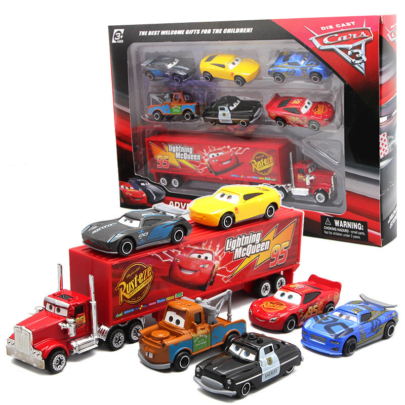 7Pcs/set Disney Pixar Cars 3 Lightning McQueen Jackson Storm Mater Sally  The King 1:55 Diecast Metal Alloy Model set Gift