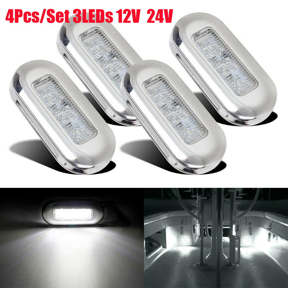 4Pcs 12V 14V Car Truck Boat 3LED Tail Side Light Clearance Marker Lamp Indicator Marine Boat Accessory Stair Deck Side Taillight