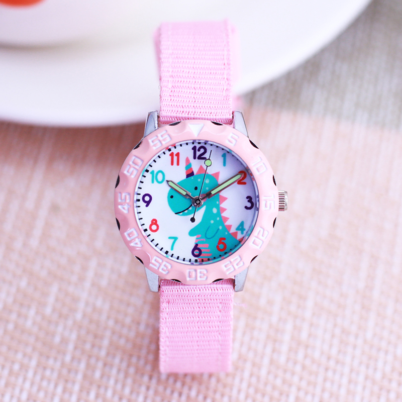 New Children Boys Girls Lovely Cartoon Canvas Quartz Wristwatches Little Kids Animal Primary School Students Learn Time Watches