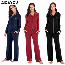 Pyjama pour femmes, ensemble 2 pièces, costume longue, pantalon en velours, élastique, manches longues, extensible, en Satin en soie, hauts taille, ouc041