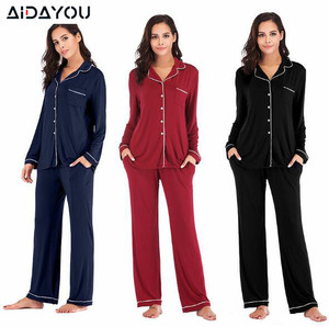 Image 1 - Women Pajama Sets 2 Pieces  Lounge Suit Velvet Elastic Long Sleeves Stretch Sleepwear Pants Tops Satin Silk Pjs Plus Size ouc041