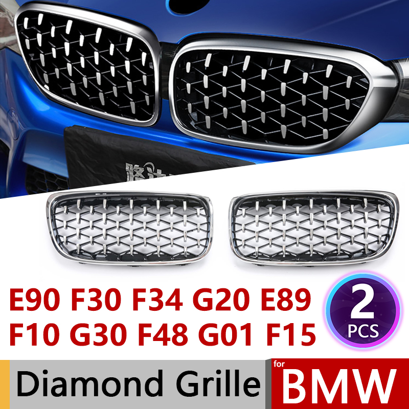 2pcs Diamond Grille Racing Grills For BMW E90 F30 F10 G30 G11 X1 F48 X3 G01 X5 E70 F15 X6 E71 F16 Z4 E89 3 5 7 Series Trim Grill
