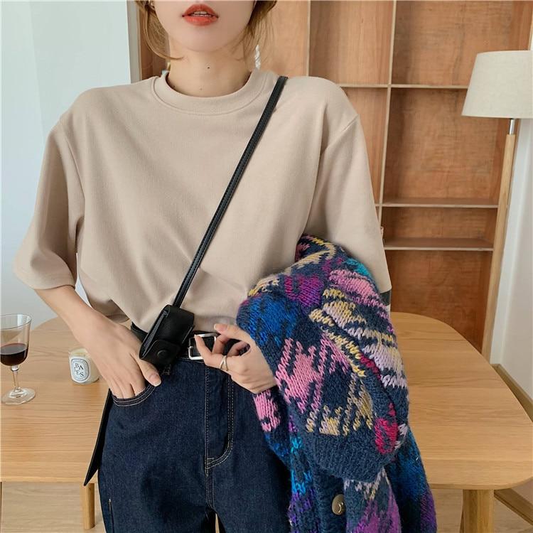 Hb912766ab8724da9abf7ae4650e5387dl - Summer O-Neck Short Sleeves Cotton Basic Solid T-Shirt