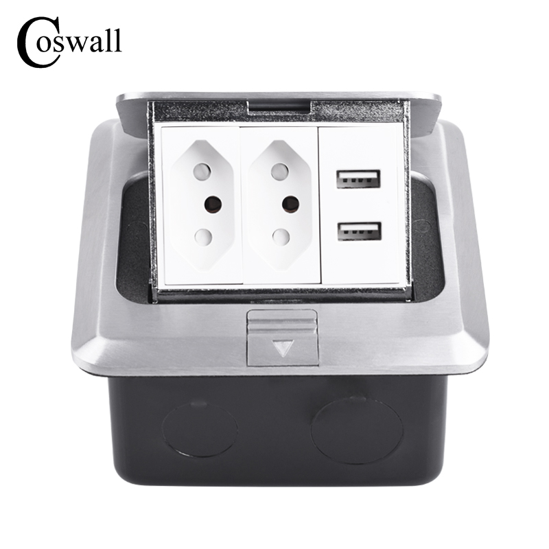 Coswall All Aluminum Metal Panel Soft Pop Up Floor Socket 2 Gang Brazil Standard Power Outlet With Dual USB Charge Port 2.1A Max