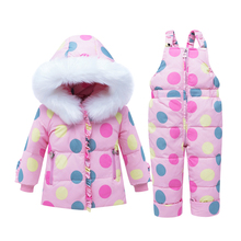 Girls Ski Suit Winter Children Clothing Set for Girls Flowers Jacket Coat+Overalls Warm Windproof Snowsuit Infant Clothing Girl цены