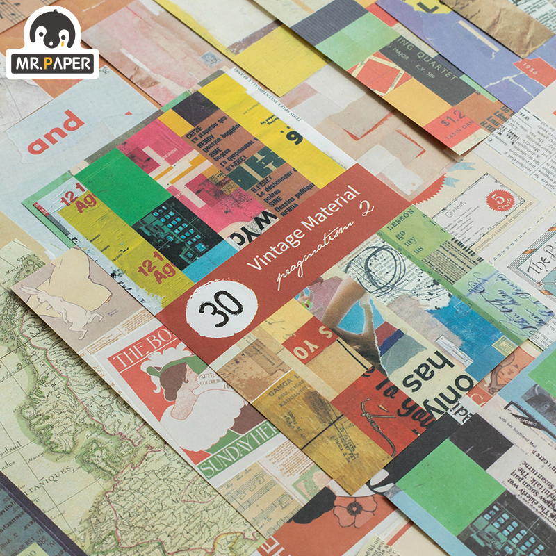 Mr.paper 4pcs 31pcs Colorful Collage Kraft Card Scrapbooking/Card Making/Journaling Project DIY Retro Hangtag With Hole Cards