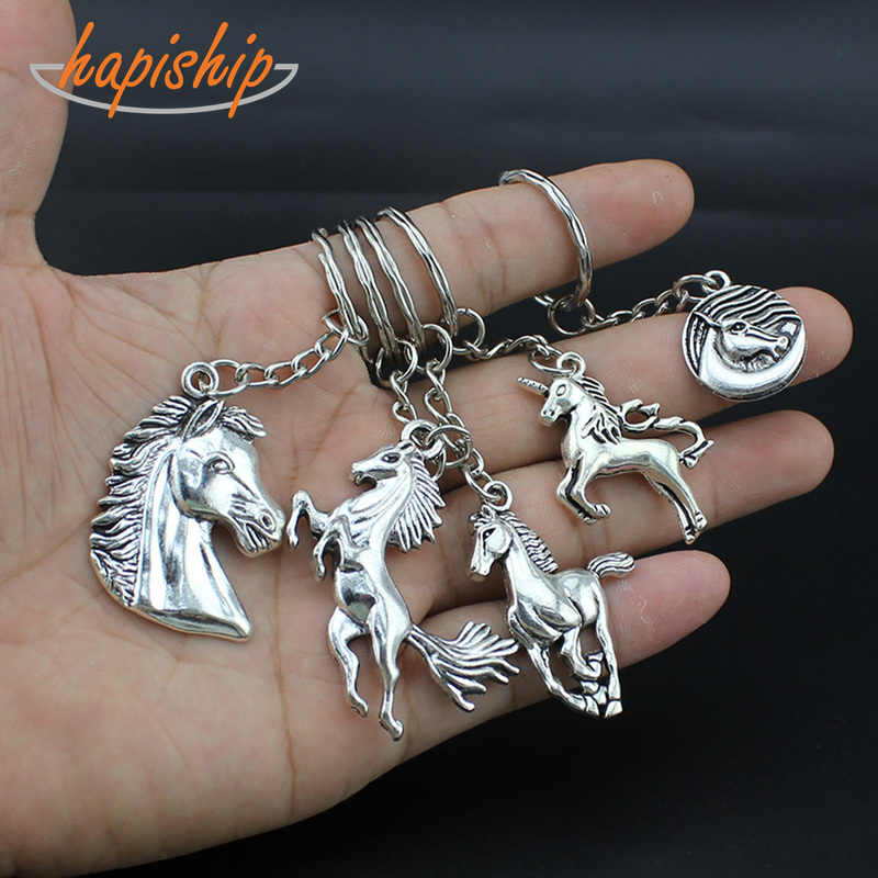 Hapiship 2018 New Women/Men's Fashion Handmade Vintage Silver Horse Head Key Chains Key Rings Alloy Charms Gifts YS4404