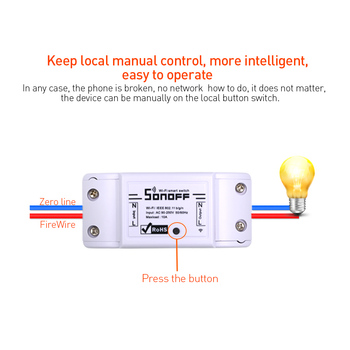 ITEAD Sonoff Basic Wireless Wifi Switch For Smart Home Automation Relay Module Remote Controller 10A 90-250V For IOS Android 1