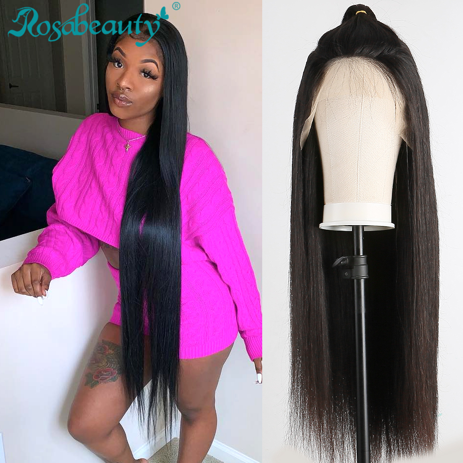 Rosabeauty 28 30 Inch Transparent 13x6 Lace Front Human Hair Wigs Preplucked Peruvian Straight 250 Density Frontal Wig Black