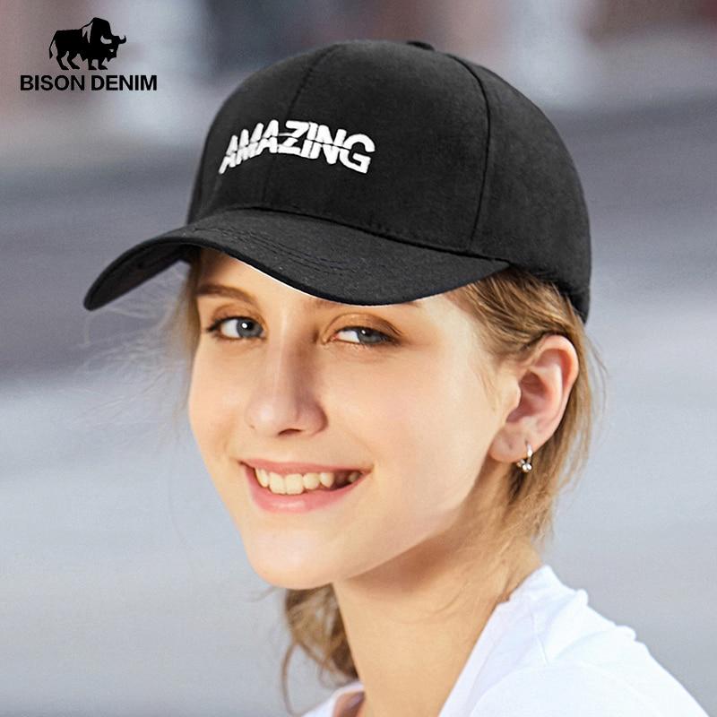 BISON DENIM Women Men Baseball Cap Breathable Cotton Letter Embroidery Hat Summer Outdoor Adjustable Hip Hop Fashion Hats M9500