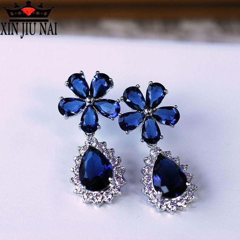 Fashion Female Crystal Flower  Earrings CZ Rhod Blue White Earrings Boho Wedding Jewelry Long Sapphire Earrings