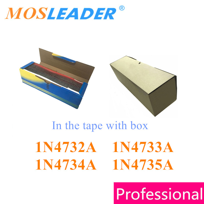 Mosleader 2500PCS DO41 1N4732A 1N4733A 1N4734A <font><b>1N4735A</b></font> 4.7V 5.1V 5.6V 6.2V 1N4732 1N4733 1N4734 1N4735 in the tape and box image